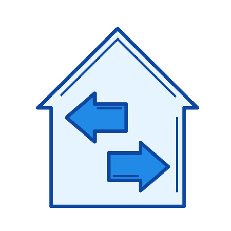 House insulation vector line icon isolated on white background. House insulation line icon for infographic, website or app. Blue icon designed on a grid system. Illusztráció