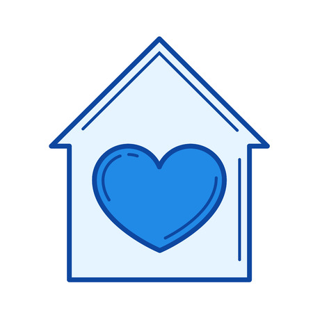 Home sweet home vector line icon isolated on white background. Home sweet home line icon for infographic, website or app. Blue icon designed on a grid system.