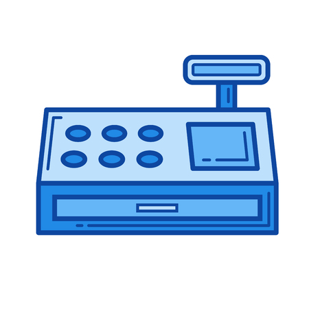 Cash register vector line icon isolated on white background. Cash register line icon for infographic, website or app. Blue icon designed on a grid system.