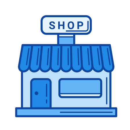 small business: Grocery store vector line icon isolated on white background. Grocery store line icon for infographic, website or app. Blue icon designed on a grid system. Illustration