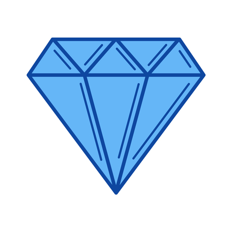 Diamond vector line icon isolated on white background. Diamond line icon for infographic, website or app. Blue icon designed on a grid system.