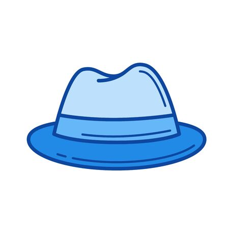 Felt hat vector line icon isolated on white background. Felt hat line icon for infographic, website or app. Blue icon designed on a grid system. Ilustracja