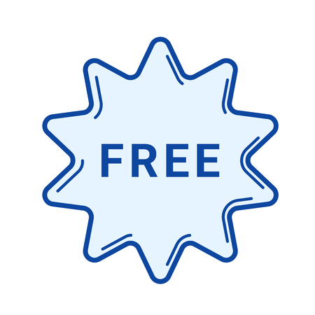 Free sticker vector line icon isolated on white background. Free sticker line icon for infographic, website or app. Blue icon designed on a grid system. Illustration