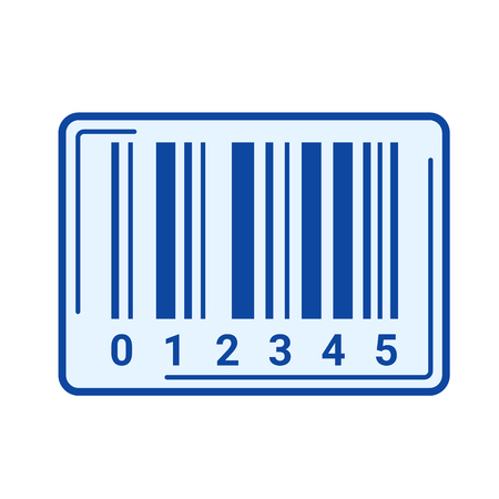 Bar code vector line icon isolated on white background. Bar code line icon for infographic, website or app. Blue icon designed on a grid system. Illustration