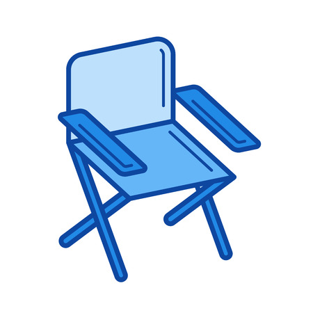Folding chair vector line icon isolated on white background. Folding chair line icon for infographic, website or app. Blue icon designed on a grid system.