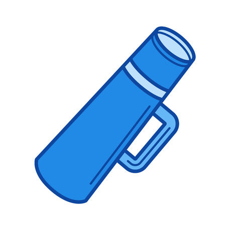 Thermos flask vector line icon isolated on white background. Thermos flask line icon for infographic, website or app. Blue icon designed on a grid system.