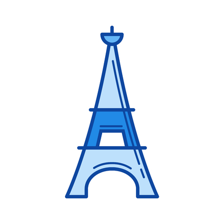 Eiffel tower vector line icon isolated on white background. Eiffel tower line icon for infographic, website or app. Blue icon designed on a grid system. Illustration