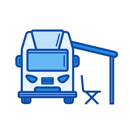 RV camping line icon 向量圖像