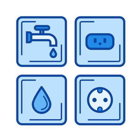 Camp services line icon Illustration