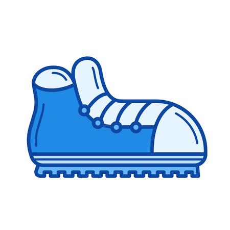 Hiking boots line icon Illustration