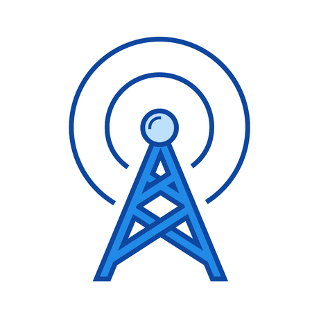 Transmitter vector line icon isolated on white background. Transmitter line icon for infographic, website or app. Blue icon designed on a grid system.