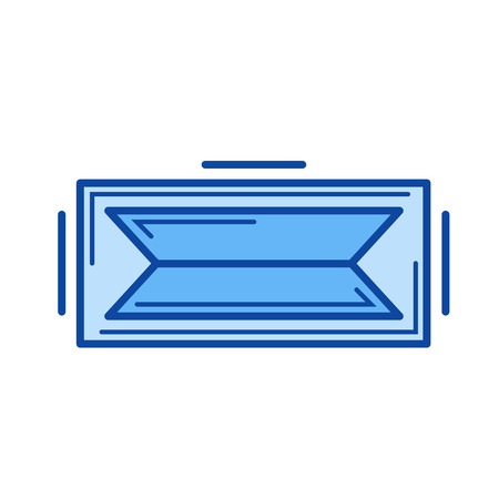 Augmented reality vector line icon isolated on white background. Augmented reality line icon for infographic, website or app. Blue icon designed on a grid system. Illustration