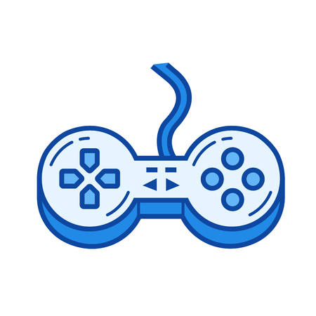 Game controller vector line icon isolated on white background. Game controller line icon for infographic, website or app. Blue icon designed on a grid system.