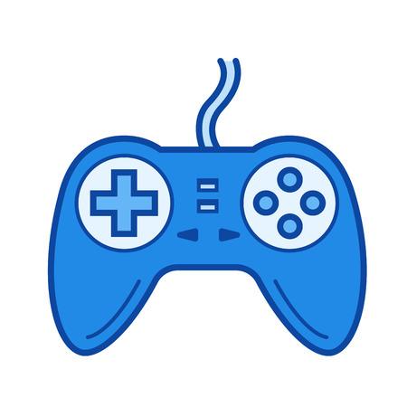 게임 패드 벡터 라인 아이콘 흰 배경에 고립. 인포 그래픽, 웹 사이트 또는 앱용 게임 패드 아이콘 그리드 시스템에서 설계된 파란색 아이콘. 일러스트