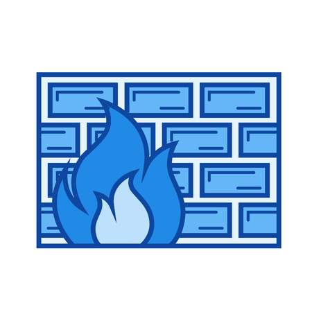 Firewall vector line icon isolated on white background. Firewall line icon for infographic, website or app. Blue icon designed on a grid system.