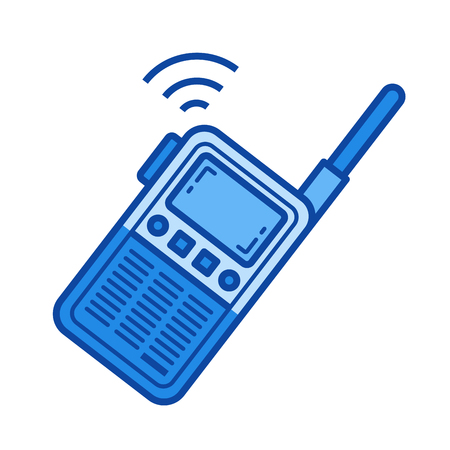 Portable radio set vector line icon isolated on white background. Portable radio set line icon for infographic, website or app. Blue icon designed on a grid system.