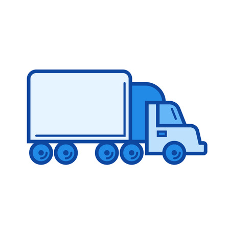 Box truck vector line icon isolated on white background. Box truck line icon for infographic, website or app. Blue icon designed on a grid system. 向量圖像