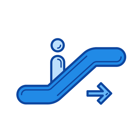 Moving staircase vector line icon isolated on white background. Moving staircase line icon for infographic, website or app. Blue icon designed on a grid system.