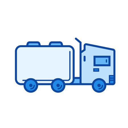 Tank truck vector line icon isolated Ilustração