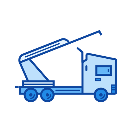 carretilla de mano: Icono de la línea del vector de la grúa del carro aislado en el fondo blanco. Icono de la línea de la grúa del camión para infografía, sitio web o aplicación. Icono azul diseñado en un sistema de cuadrícula.
