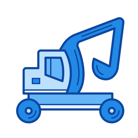 Skid steer loader vector line icon isolated on white background. Skid steer loader line icon for infographic, website or app. Blue icon designed on a grid system.