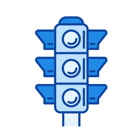 electric grid: Traffic light vector line icon isolated on white background. Traffic light line icon for infographic, website or app. Blue icon designed on a grid system. Illustration