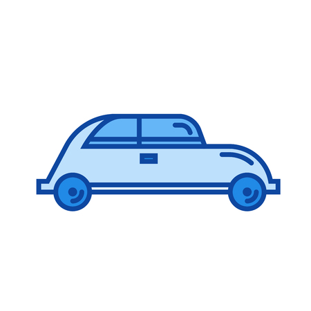 Hatchback car vector line icon isolated Illustration