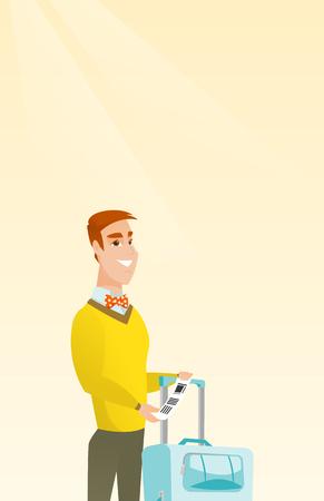 Gelukkige commerciële klassenpassagier die zich dichtbij koffer bevinden en prioritair bagagelabel houden. Jongelui die Kaukasische zakenman glimlachen die de markering van de reisverzekering tonen. Vector cartoon illustratie. Verticale lay-out. Stock Illustratie