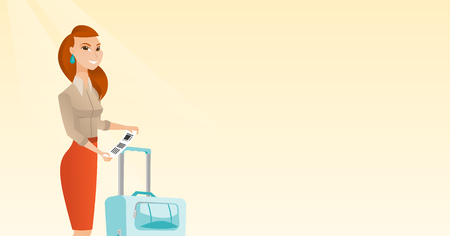 Gelukkige commerciële klassenpassagier die zich dichtbij koffer bevinden en prioritair bagagelabel houden. Jonge Kaukasische bedrijfsvrouw die de markering van de reisverzekering toont. Vector cartoon illustratie. Horizontale lay-out. Stock Illustratie