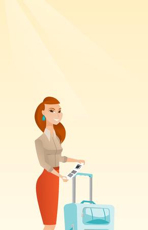 Business class-passagier die zich dichtbij koffer bevindt en prioritair bagagelabel houdt. Jongelui die Kaukasische bedrijfsvrouw glimlachen die de markering van de reisverzekering tonen. Vector cartoon illustratie. Verticale lay-out.