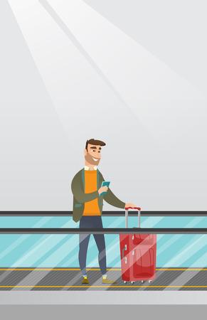 젊은 백인 사업가 공항에서 에스컬레이터에 스마트 폰을 사용 하여. 사업가 에스컬레이터를 가방에 서 서 찾고 스마트 폰. 벡터 만화 일러스트 레이 션