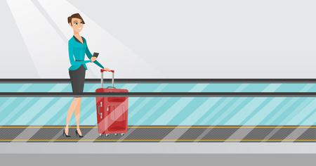 Young caucasian business woman using smartphone on escalator at the airport. Woman standing on escalator with suitcase and looking at smartphone. Vector cartoon illustration. Horizontal layout.