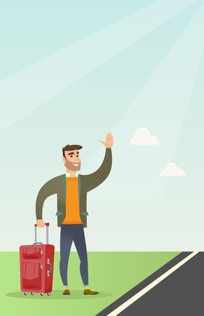 Caucasian man with suitcase hitchhiking on the roadside. Hitchhiking man trying to stop a car on a highway. Man catching a taxi car by waving his hand. Vector cartoon illustration. Vertical layout.