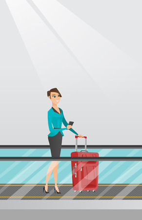 Young caucasian business woman using smartphone on escalator at the airport. Business woman standing on escalator with suitcase and looking at smartphone. Vector cartoon illustration. Vertical layout.