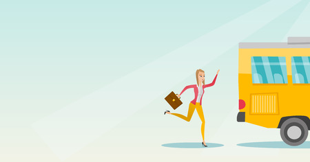 Young business woman chasing a bus. Caucasian business woman running for an outgoing bus. Latecomer business woman running to reach a bus. Vector cartoon illustration. Horizontal layout.