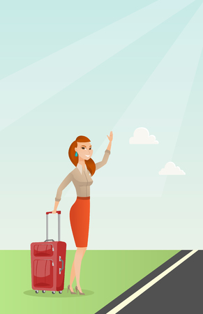 Caucasian woman with suitcase hitchhiking on the roadside. Hitchhiking woman trying to stop a car on a highway. Woman catching a taxi car by waving hand. Vector cartoon illustration. Vertical layout.