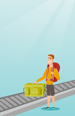 Happy caucasian passenger picking up suitcase from luggage conveyor belt at the airport. Young cheerful passenger taking his luggage from conveyor belt. Vector cartoon illustration. Vertical layout. Illustration