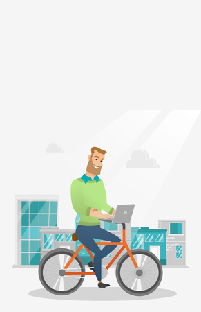 Young caucasian businessman working on a laptop while riding a bicycle. Hipster man riding a bicycle to work. Businessman riding a bicycle in the city. Vector cartoon illustration. Vertical layout.