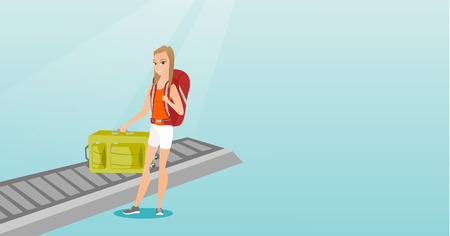 Happy caucasian passenger picking up suitcase from luggage conveyor belt at the airport. Young cheerful passenger taking her luggage from conveyor belt. Vector cartoon illustration. Horizontal layout. Иллюстрация