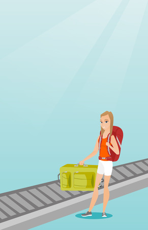 Happy caucasian passenger picking up suitcase from luggage conveyor belt at the airport. Young cheerful passenger taking her luggage from conveyor belt. Vector cartoon illustration. Vertical layout. Illustration