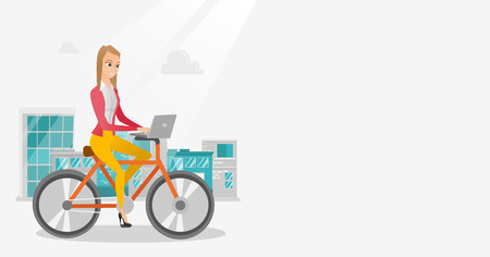 Young caucasian business woman working on a laptop while riding a bicycle. Woman riding a bicycle to work. Business woman riding a bicycle in the city. Vector cartoon illustration. Horizontal layout. Illustration