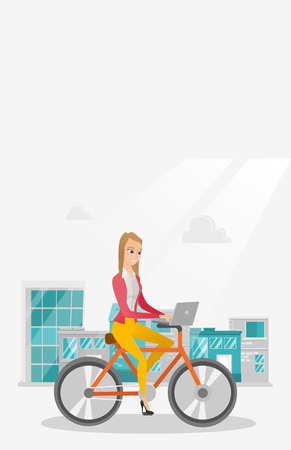 Young caucasian business woman working on a laptop while riding a bicycle. Woman riding a bicycle to work. Business woman riding a bicycle in the city. Vector cartoon illustration. Vertical layout.
