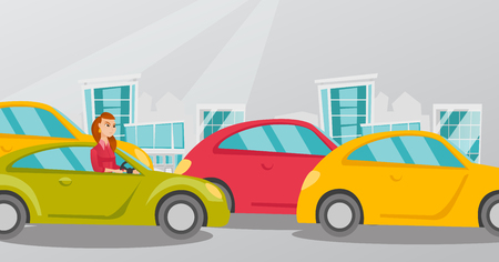 Angry caucasian woman in a car stuck in a traffic jam. Irritated young woman driving a car in a traffic jam. Agressive driver honking in a traffic jam. Vector cartoon illustration. Horizontal layout. Illustration