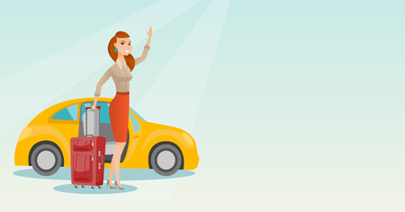 Caucasian woman with suitcase standing on the background of car with open door. Young woman waving in front of car. Happy woman going on vacation by car. Vector cartoon illustration. Horizontal layout