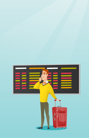 Young caucasian businessman looking at departure board at the airport. Passenger with suitcase standing on the background of departure board at airport. Vector cartoon illustration. Vertical layout. Ilustrace