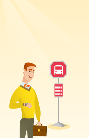 Caucasian businessman waiting for a bus at the bus stop. Young cheerful businessman standing at the bus stop. Man looking at his watch at the bus stop. Vector cartoon illustration. Vertical layout.
