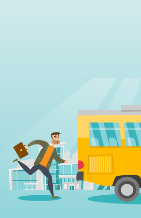 Young hipster businessman with beard chasing a bus. Caucasian businessman running for an outgoing bus. Latecomer businessman running to reach a bus. Vector cartoon illustration. Vertical layout.