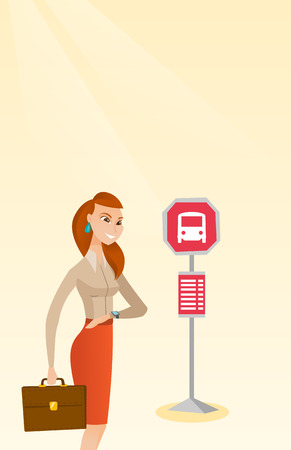 Caucasian business woman waiting for a bus at the bus stop. Young cheerful woman standing at the bus stop. Woman looking at her watch at the bus stop. Vector cartoon illustration. Vertical layout.