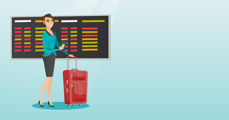 Young caucasian airplane passenger waiting for a flight at the airport and holding passport. Happy woman standing at airport with suitcase and passport. Vector cartoon illustration. Horizontal layout.