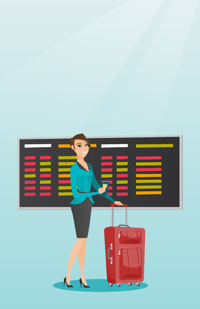 Young caucasian airplane passenger waiting for a flight at the airport and holding passport. Happy woman standing at airport with suitcase and passport. Vector cartoon illustration. Vertical layout. Illustration